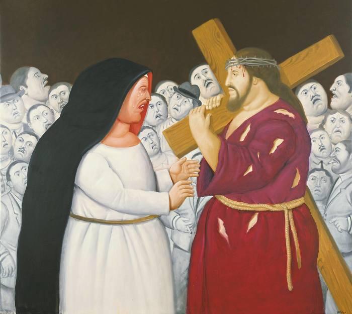 F.Botero, Jesus encuentra a su madre, 2011, museo colombiano di Antioquia