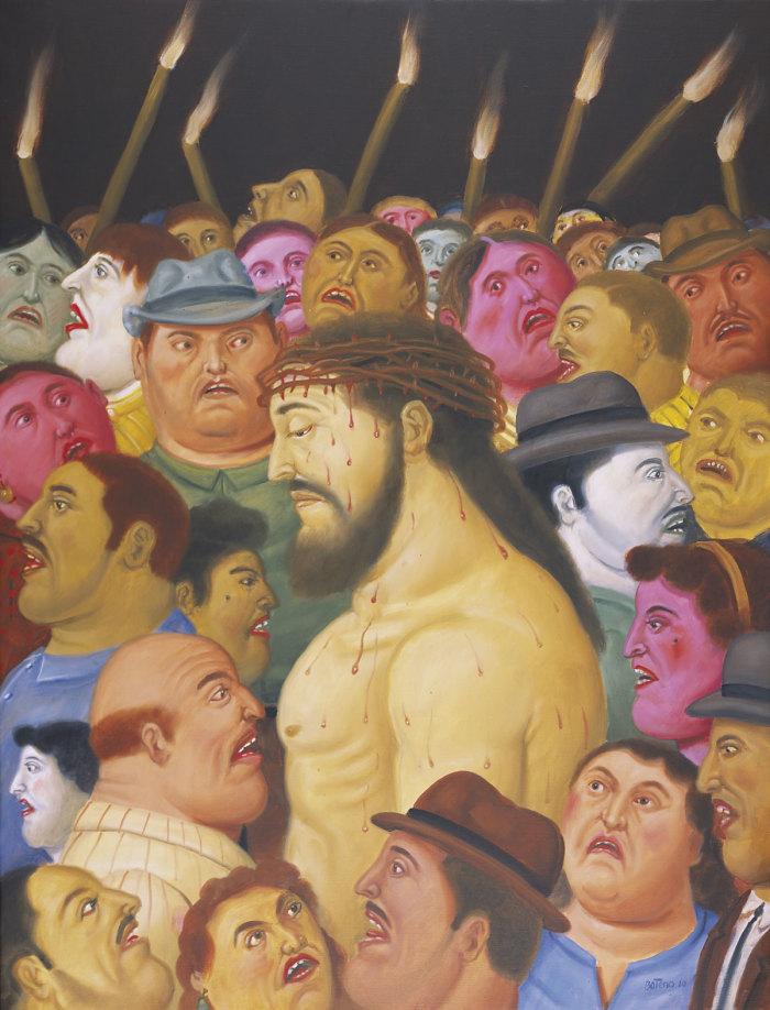 F.Botero, Jesus y la multitud, 2010, museo colombiano di Antioquia