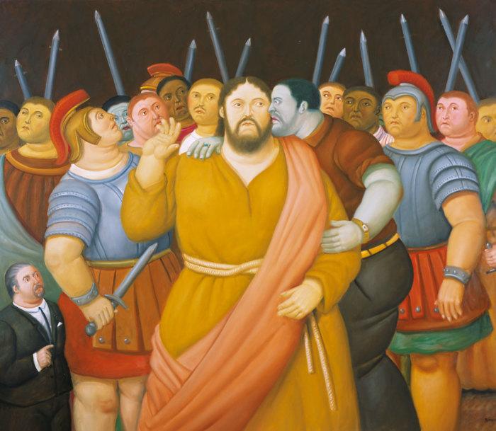 F.Botero, El beso de Judas, 2010, museo colombiano di Antioquia