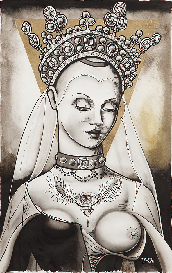 Morg Armeni, Portrait of a goddess_2016, inchiostro di china e foglia d'oro su carta, 35 x 60 cm